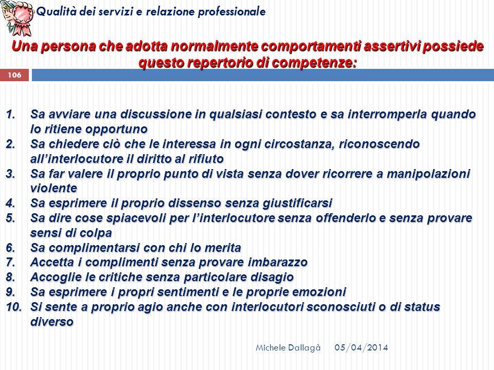 Qualità dei servizi e relazione professionale Una persona che adotta normalmente comportamenti assertivi possiede questo repertorio di competenze: 1.S