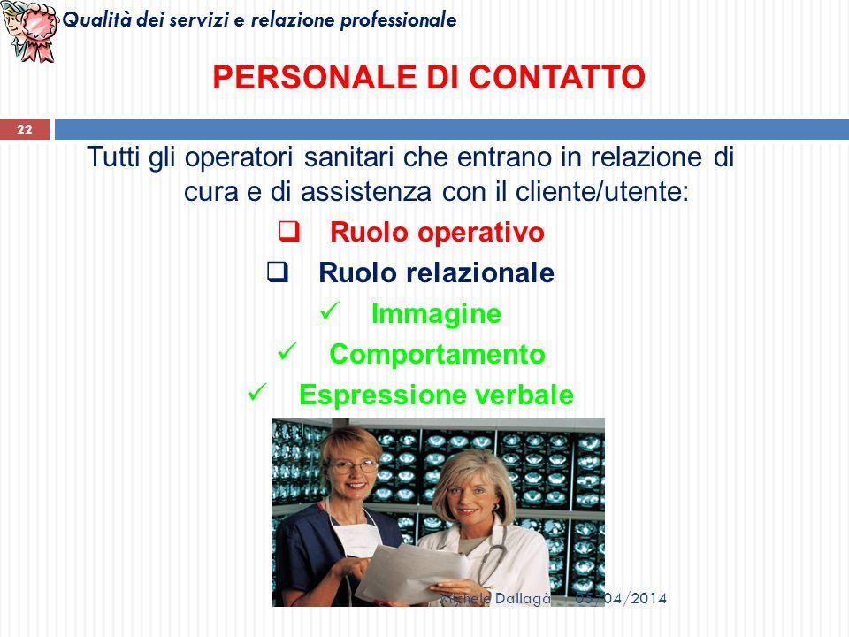 Qualità dei servizi e relazione professionale 22 PERSONALE DI CONTATTO Tutti gli operatori sanitari che entrano in relazione di cura e di assistenza c
