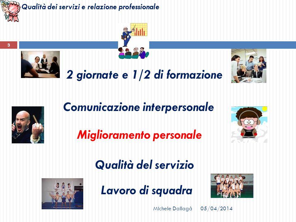 Qualità dei servizi e relazione professionale Michele Dallagà 3 2 giornate e 1/2 di formazione Comunicazione interpersonale Lavoro di squadra Qualità