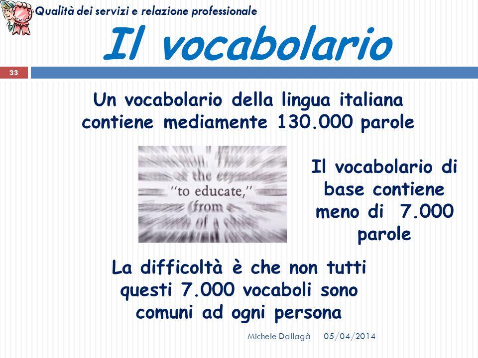 Qualità dei servizi e relazione professionale 05/04/2014Michele Dallagà 33 Il vocabolario Un vocabolario della lingua italiana contiene mediamente 130