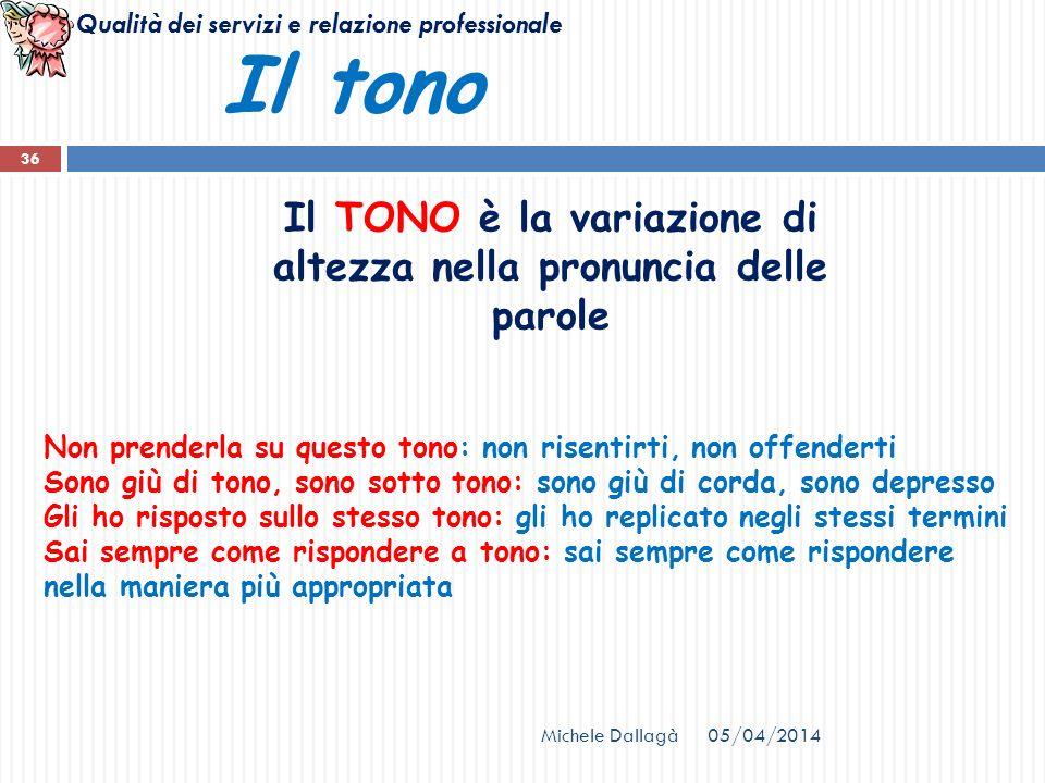 Qualità dei servizi e relazione professionale 05/04/2014Michele Dallagà 36 Il tono Il TONO è la variazione di altezza nella pronuncia delle parole Non