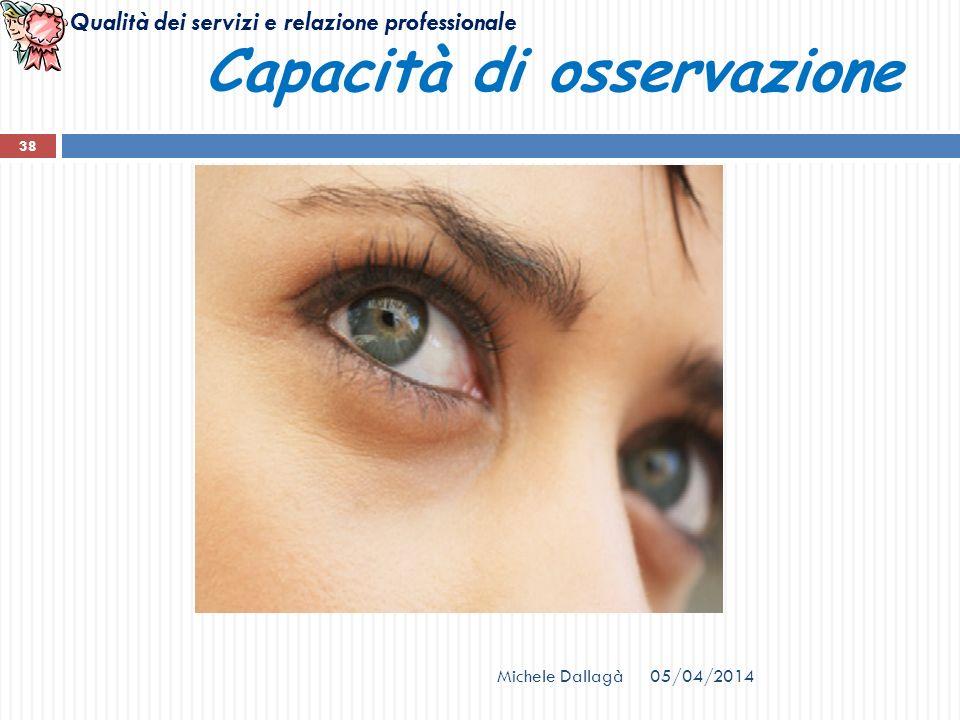 Qualità dei servizi e relazione professionale 05/04/2014Michele Dallagà 38 Capacità di osservazione