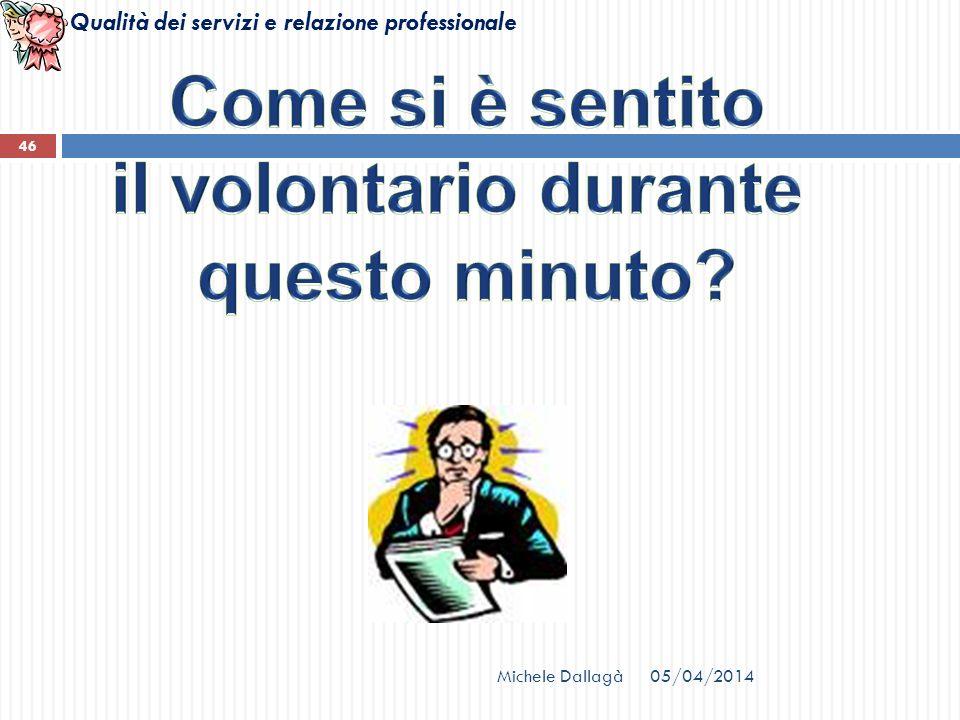 Qualità dei servizi e relazione professionale Michele Dallagà 46 05/04/2014