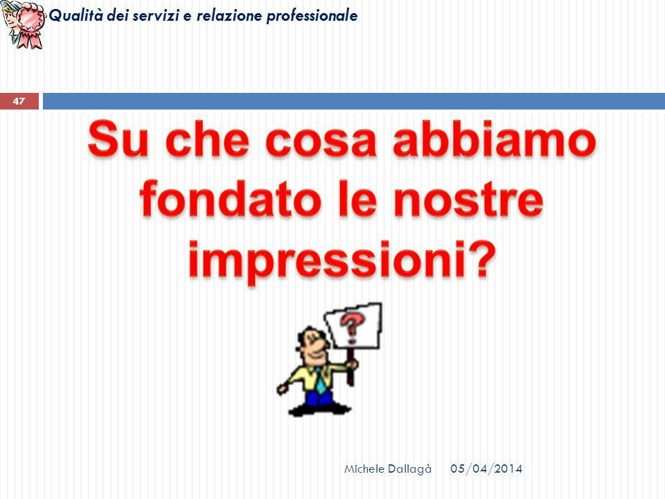 Qualità dei servizi e relazione professionale Michele Dallagà 47 05/04/2014