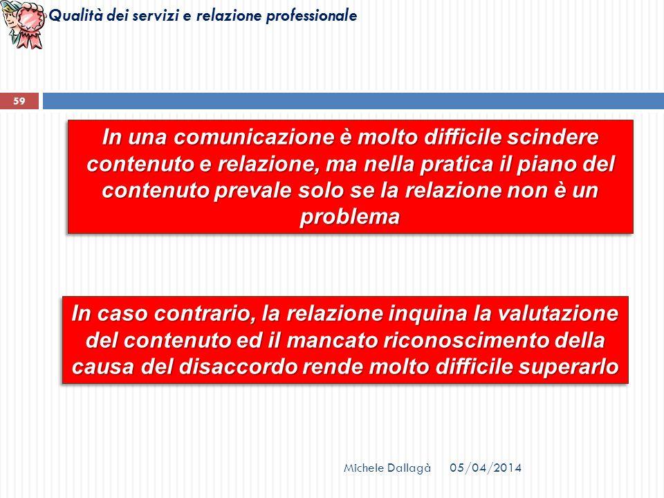 Qualità dei servizi e relazione professionale In una comunicazione è molto difficile scindere contenuto e relazione, ma nella pratica il piano del con