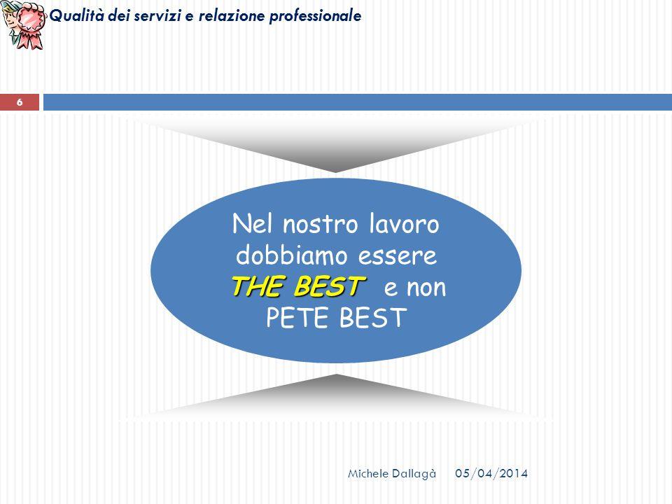 Qualità dei servizi e relazione professionale 05/04/2014Michele Dallagà 6 THE BEST Nel nostro lavoro dobbiamo essere THE BEST e non PETE BEST