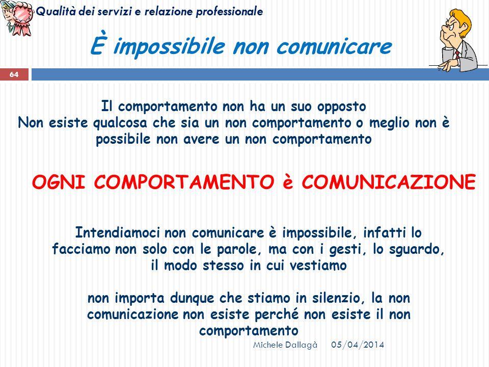 Qualità dei servizi e relazione professionale 05/04/2014Michele Dallagà 64 È impossibile non comunicare Il comportamento non ha un suo opposto Non esi