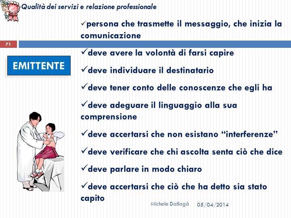 Qualità dei servizi e relazione professionale Michele Dallagà 71 EMITTENTE persona che trasmette il messaggio, che inizia la comunicazione deve avere