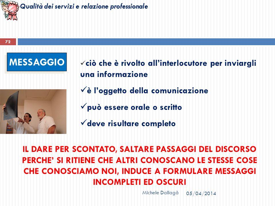 Qualità dei servizi e relazione professionale Michele Dallagà 72 MESSAGGIO ciò che è rivolto allinterlocutore per inviargli una informazione è loggett