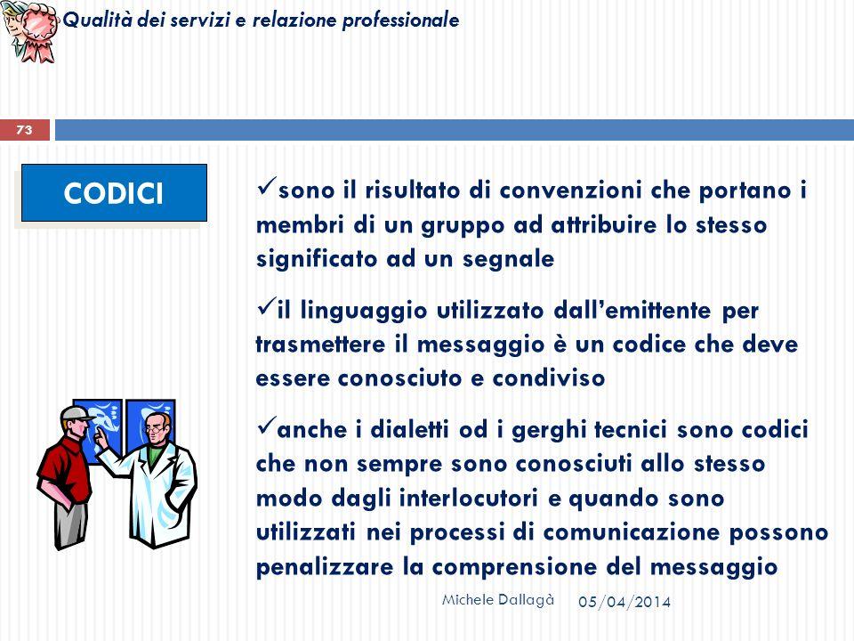 Qualità dei servizi e relazione professionale Michele Dallagà 73 CODICI sono il risultato di convenzioni che portano i membri di un gruppo ad attribui
