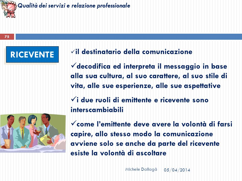 Qualità dei servizi e relazione professionale Michele Dallagà 75 RICEVENTE il destinatario della comunicazione decodifica ed interpreta il messaggio i