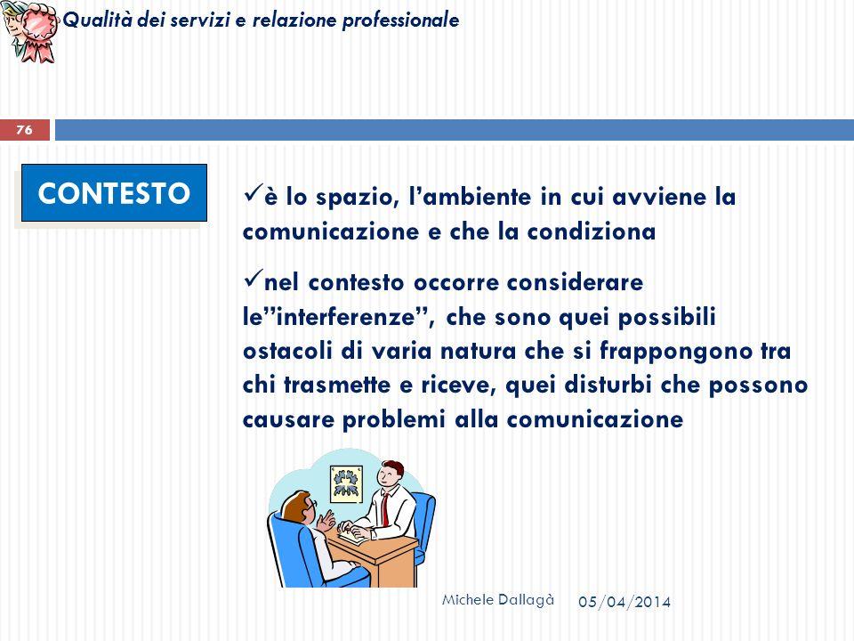Qualità dei servizi e relazione professionale Michele Dallagà 76 CONTESTO è lo spazio, lambiente in cui avviene la comunicazione e che la condiziona n