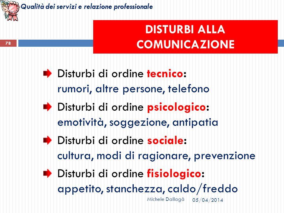 Qualità dei servizi e relazione professionale Michele Dallagà 78 Disturbi di ordine tecnico: rumori, altre persone, telefono Disturbi di ordine psicol