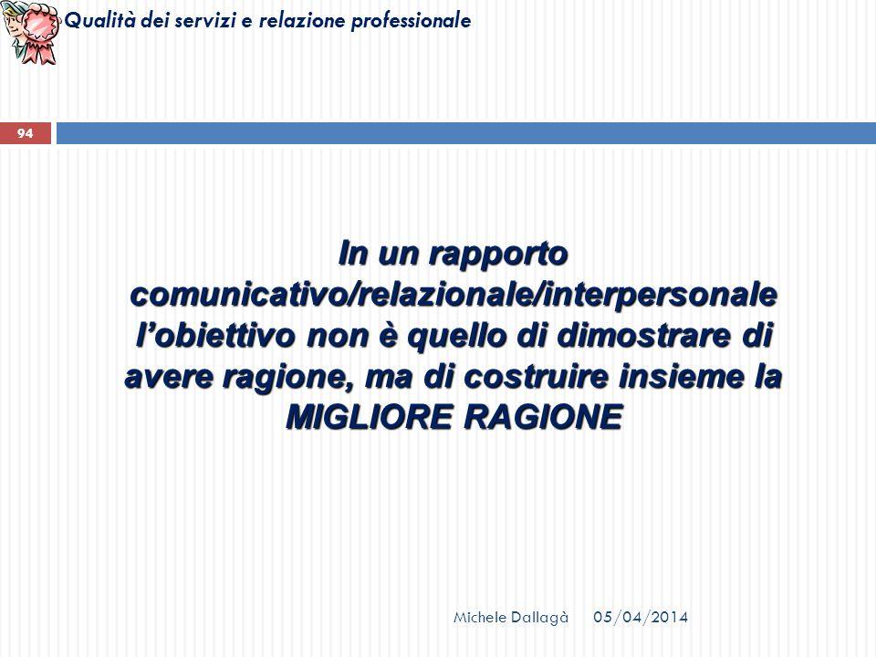Qualità dei servizi e relazione professionale Michele Dallagà 94 In un rapporto comunicativo/relazionale/interpersonale lobiettivo non è quello di dim