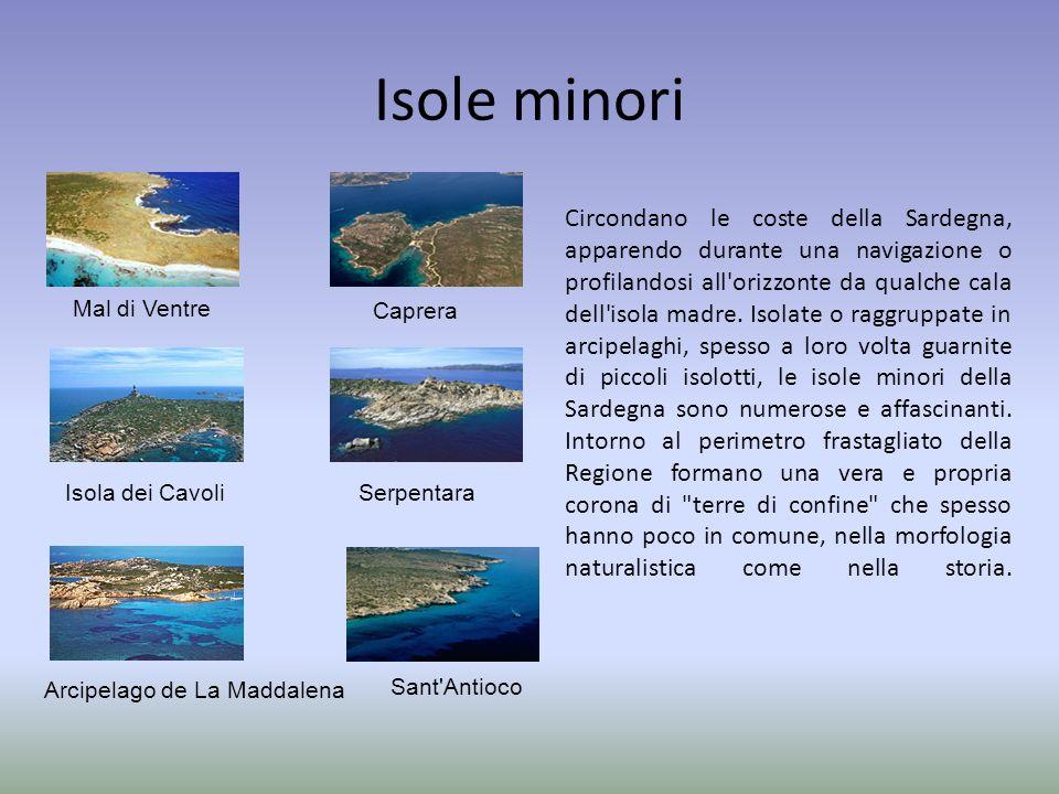 Isole minori Circondano le coste della Sardegna, apparendo durante una navigazione o profilandosi all'orizzonte da qualche cala dell'isola madre. Isol