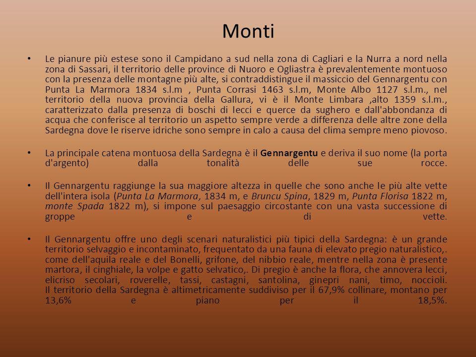 Monti Le pianure più estese sono il Campidano a sud nella zona di Cagliari e la Nurra a nord nella zona di Sassari, il territorio delle province di Nu