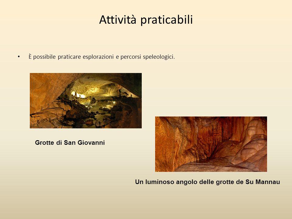 Attività praticabili È possibile praticare esplorazioni e percorsi speleologici. Grotte di San Giovanni Un luminoso angolo delle grotte de Su Mannau