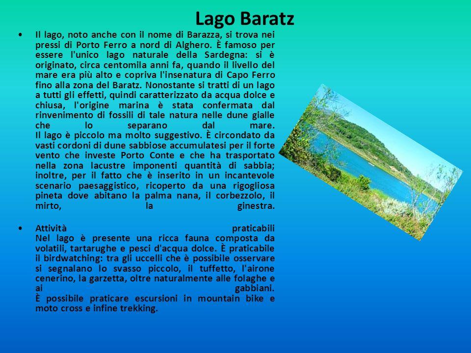 Lago Baratz Il lago, noto anche con il nome di Barazza, si trova nei pressi di Porto Ferro a nord di Alghero. È famoso per essere l'unico lago natural