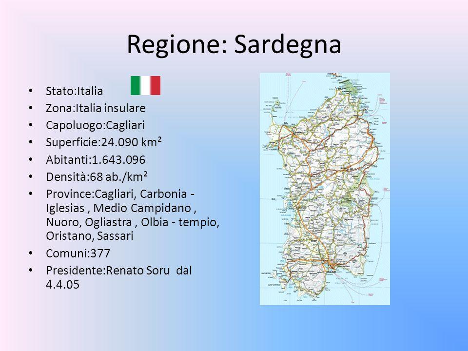 Regione: Sardegna Stato:Italia Zona:Italia insulare Capoluogo:Cagliari Superficie:24.090 km² Abitanti:1.643.096 Densità:68 ab./km² Province:Cagliari,