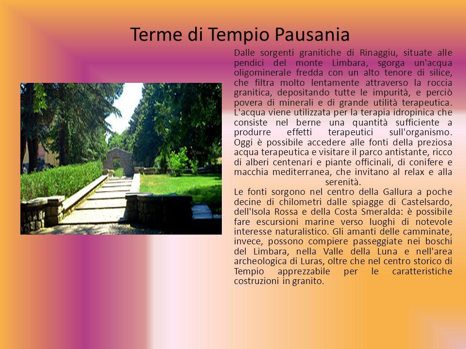 Terme di Tempio Pausania Dalle sorgenti granitiche di Rinaggiu, situate alle pendici del monte Limbara, sgorga un'acqua oligominerale fredda con un al