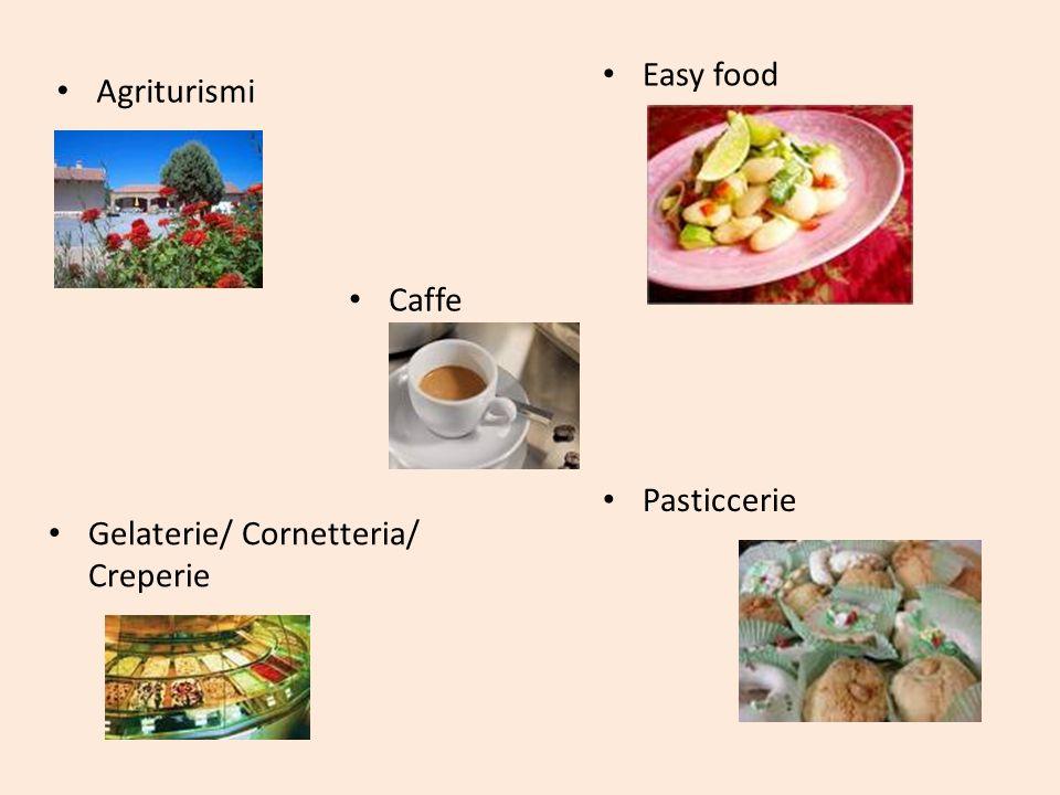 Agriturismi Easy food Gelaterie/ Cornetteria/ Creperie Pasticcerie Caffe