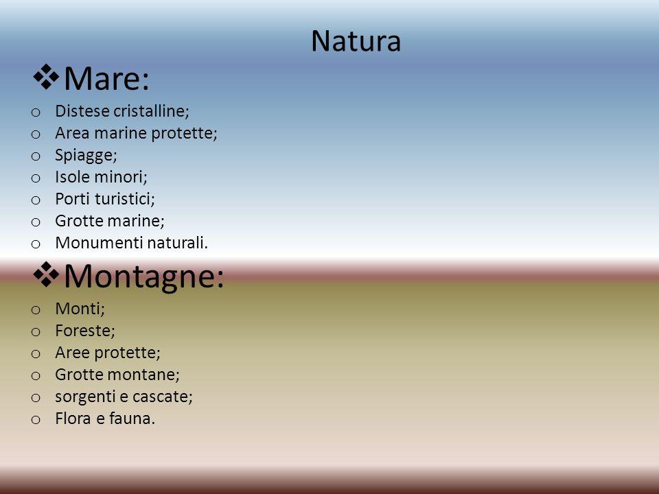Natura Mare: o Distese cristalline; o Area marine protette; o Spiagge; o Isole minori; o Porti turistici; o Grotte marine; o Monumenti naturali. Monta