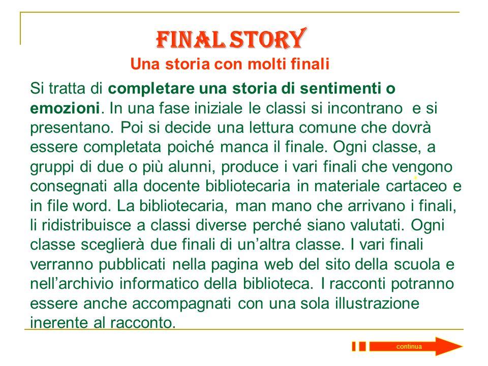 Final Story Book City – Concorso in Biblioteca Una storia con molti finali Entra Istituto Comprensivo n° 7 – L. Orsini - Imola Scuola Secondaria di 1°