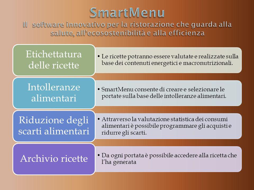 Le ricette potranno essere valutate e realizzate sulla base dei contenuti energetici e macronutrizionali.