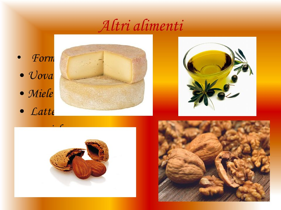 Altri alimenti Formaggio Uova Miele Latte nocciole Olio d'oliva Lumache Aceto