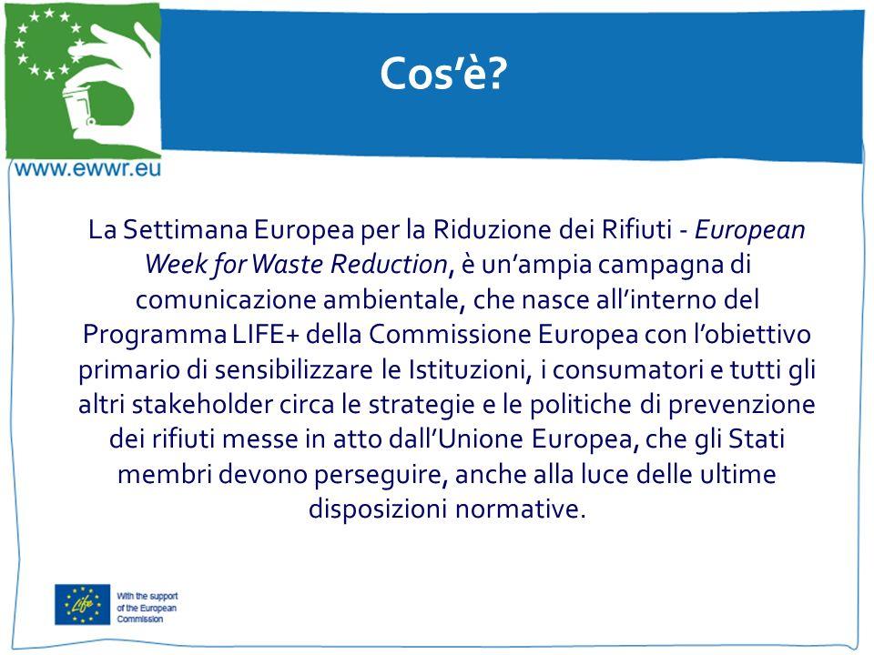 Cosè? La Settimana Europea per la Riduzione dei Rifiuti - European Week for Waste Reduction, è unampia campagna di comunicazione ambientale, che nasce