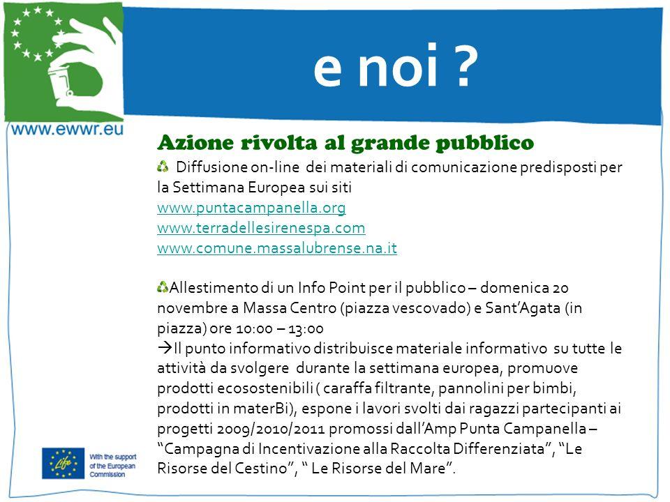 e noi ? Azione rivolta al grande pubblico Diffusione on-line dei materiali di comunicazione predisposti per la Settimana Europea sui siti www.puntacam
