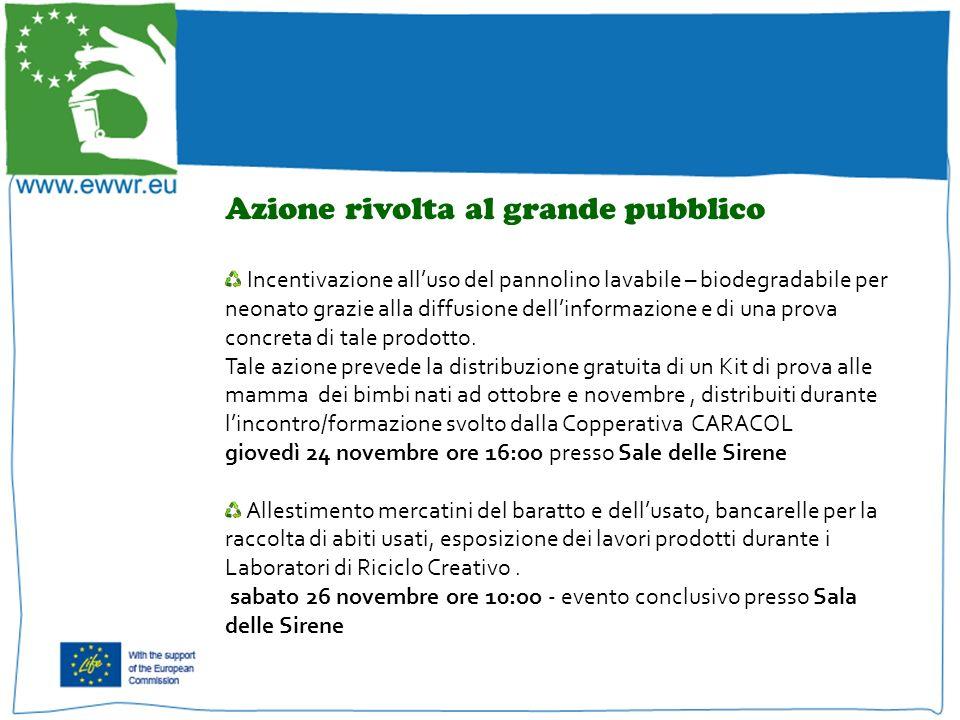 Incentivazione alluso del pannolino lavabile – biodegradabile per neonato grazie alla diffusione dellinformazione e di una prova concreta di tale prodotto.