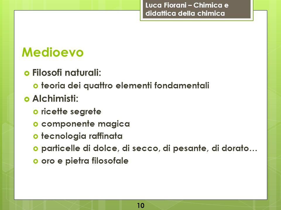 Luca Fiorani – Chimica e didattica della chimica Medioevo Filosofi naturali: teoria dei quattro elementi fondamentali Alchimisti: ricette segrete comp