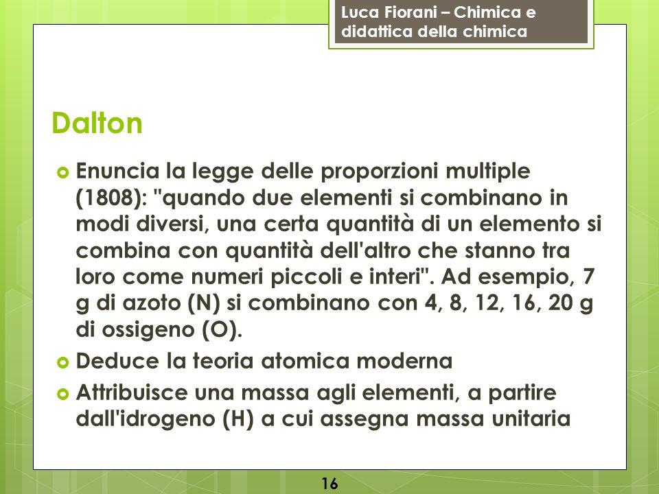 Luca Fiorani – Chimica e didattica della chimica Dalton Enuncia la legge delle proporzioni multiple (1808):