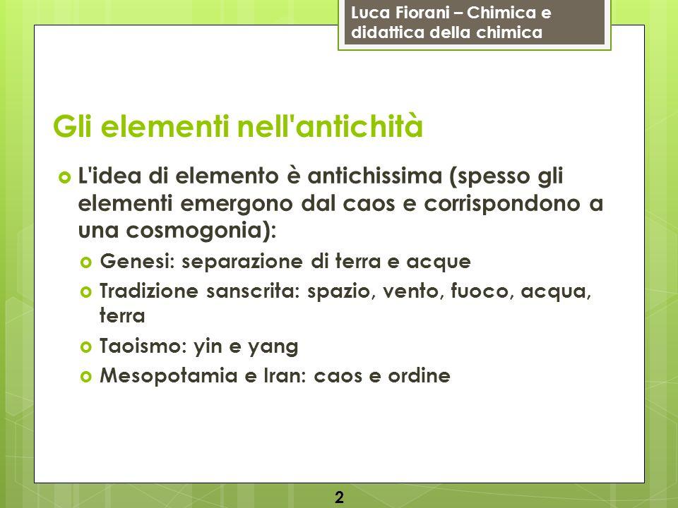 Luca Fiorani – Chimica e didattica della chimica Gli elementi nell'antichità L'idea di elemento è antichissima (spesso gli elementi emergono dal caos