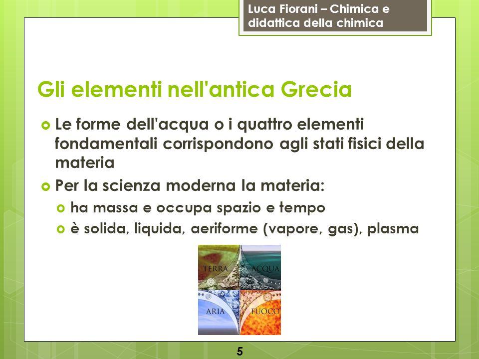 Luca Fiorani – Chimica e didattica della chimica Gli elementi nell'antica Grecia Le forme dell'acqua o i quattro elementi fondamentali corrispondono a
