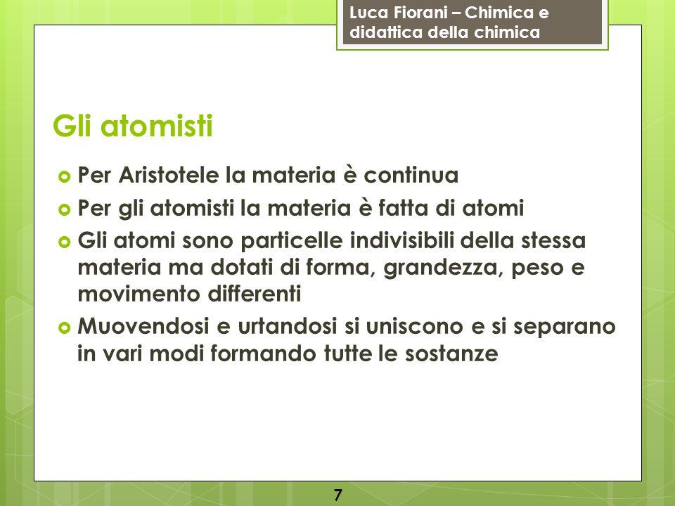 Luca Fiorani – Chimica e didattica della chimica Gli atomisti Per Aristotele la materia è continua Per gli atomisti la materia è fatta di atomi Gli at