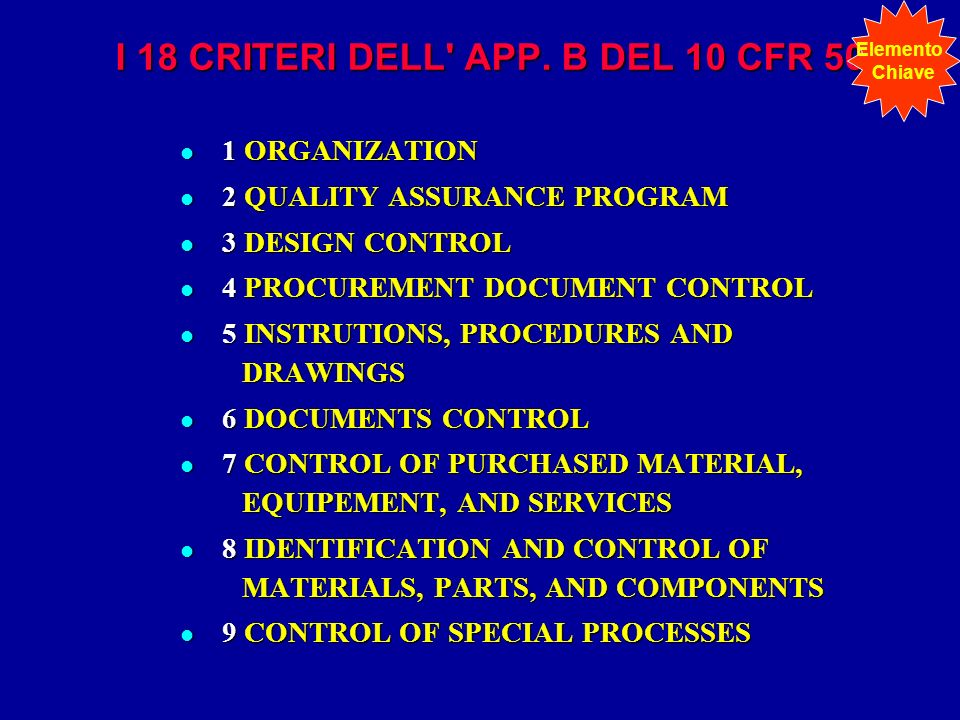 I 18 CRITERI DELL' APP. B DEL 10 CFR 50 l 1 ORGANIZATION l 2 QUALITY ASSURANCE PROGRAM l 3 DESIGN CONTROL l 4 PROCUREMENT DOCUMENT CONTROL l 5 INSTRUT
