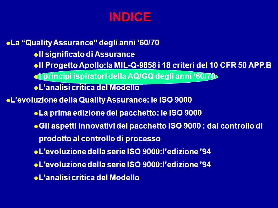 INDICE l La Quality Assurance degli anni 60/70 l Il significato di Assurance l Il Progetto Apollo:la MIL-Q-9858 i 18 criteri del 10 CFR 50 APP.B l I p