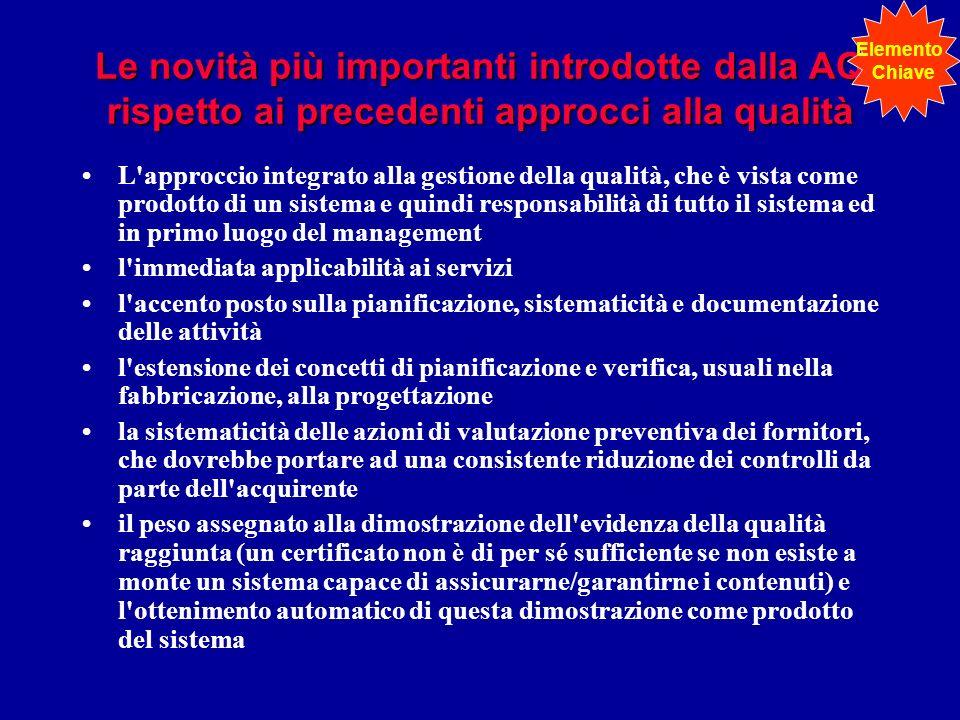 Le novità più importanti introdotte dalla AQ rispetto ai precedenti approcci alla qualità L'approccio integrato alla gestione della qualità, che è vis
