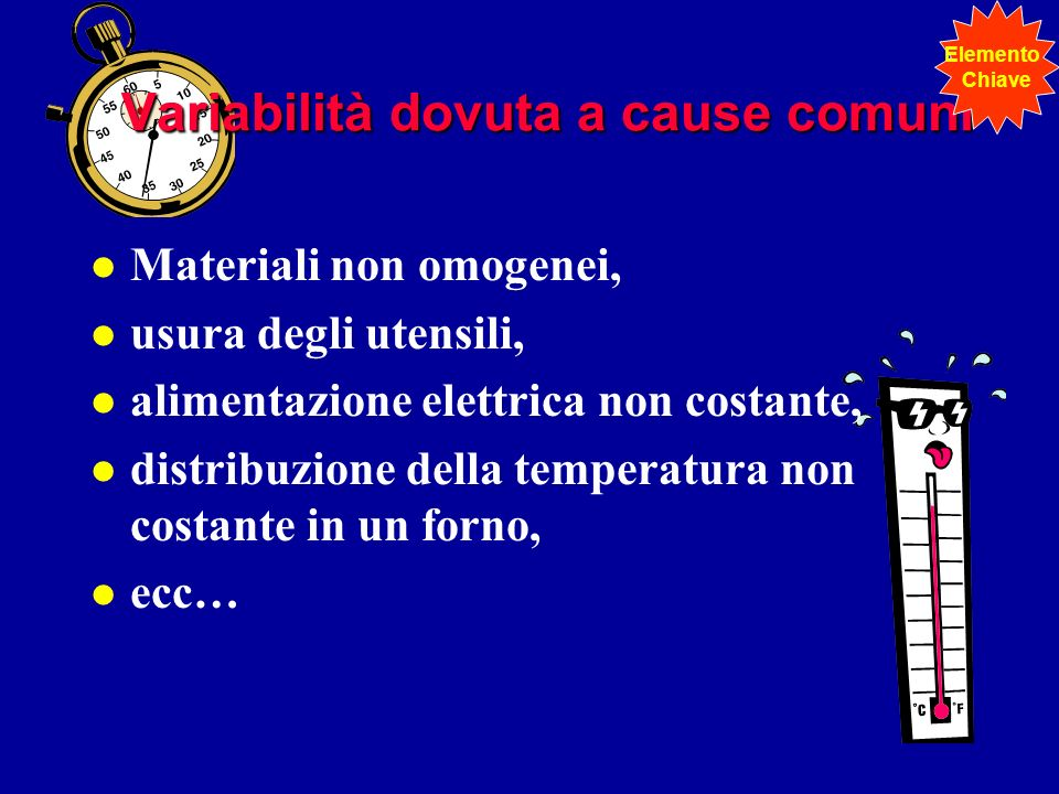 Variabilità dovuta a cause comuni l Materiali non omogenei, l usura degli utensili, l alimentazione elettrica non costante, l distribuzione della temp