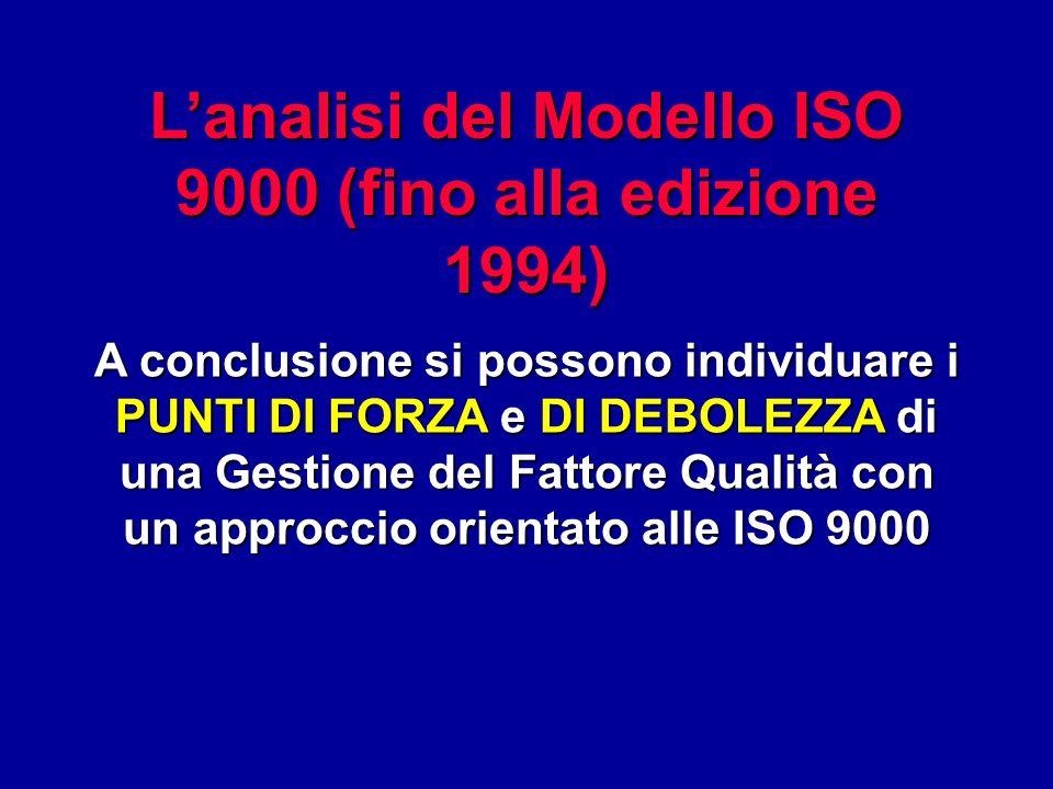 Lanalisi del Modello ISO 9000 (fino alla edizione 1994) A conclusione si possono individuare i PUNTI DI FORZA e DI DEBOLEZZA di una Gestione del Fatto