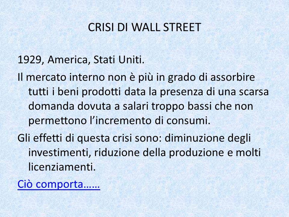 CRISI DI WALL STREET 1929, America, Stati Uniti. Il mercato interno non è più in grado di assorbire tutti i beni prodotti data la presenza di una scar