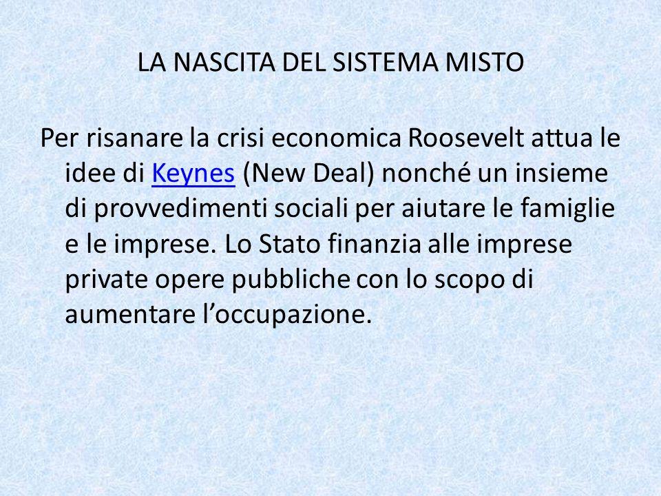 LA NASCITA DEL SISTEMA MISTO Per risanare la crisi economica Roosevelt attua le idee di Keynes (New Deal) nonché un insieme di provvedimenti sociali p