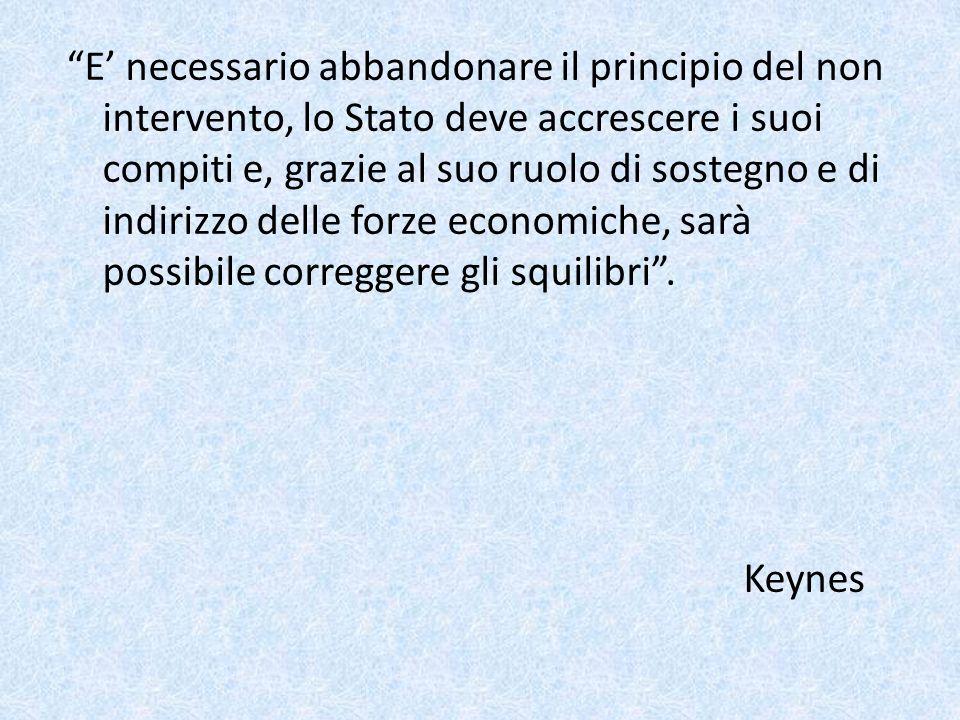 E necessario abbandonare il principio del non intervento, lo Stato deve accrescere i suoi compiti e, grazie al suo ruolo di sostegno e di indirizzo de