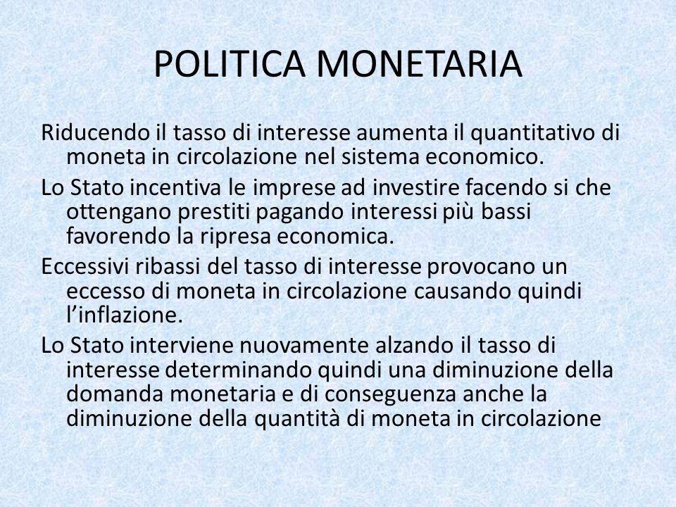 POLITICA MONETARIA Riducendo il tasso di interesse aumenta il quantitativo di moneta in circolazione nel sistema economico. Lo Stato incentiva le impr