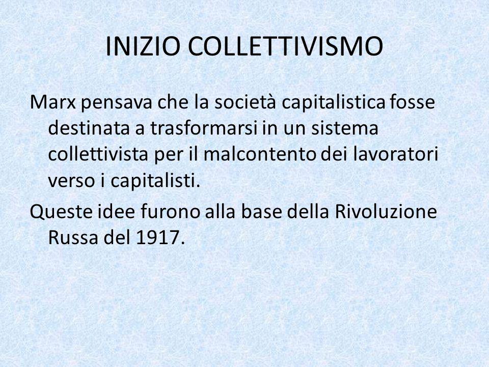 INIZIO COLLETTIVISMO Marx pensava che la società capitalistica fosse destinata a trasformarsi in un sistema collettivista per il malcontento dei lavor