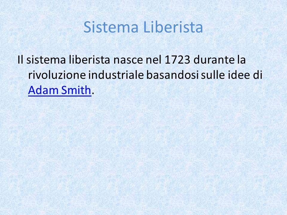 Sistema Liberista Il sistema liberista nasce nel 1723 durante la rivoluzione industriale basandosi sulle idee di Adam Smith. Adam Smith