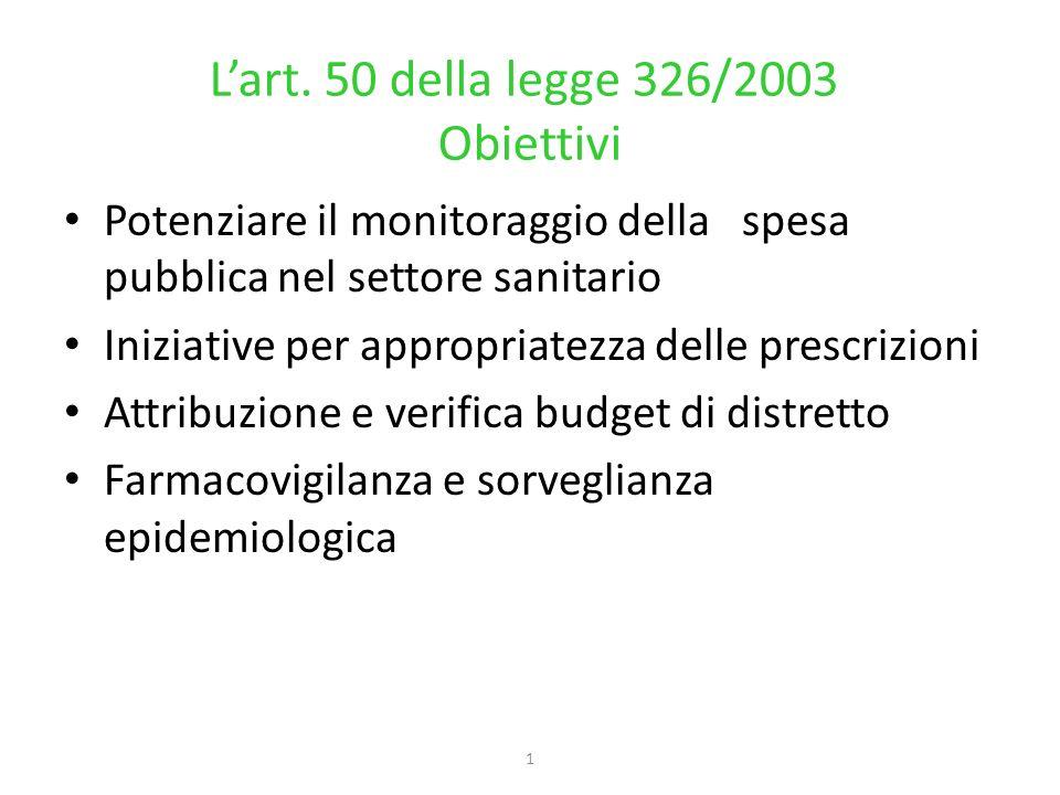 1 Lart. 50 della legge 326/2003 Obiettivi Potenziare il monitoraggio della spesa pubblica nel settore sanitario Iniziative per appropriatezza delle pr