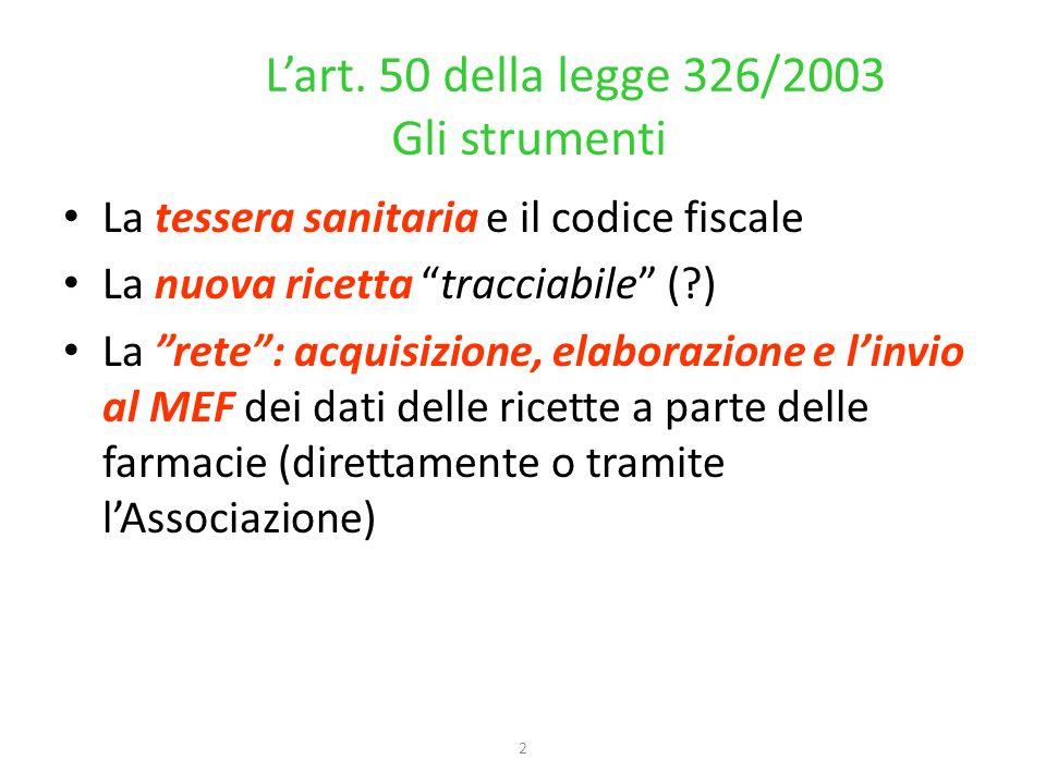2 Lart. 50 della legge 326/2003 Gli strumenti La tessera sanitaria e il codice fiscale La nuova ricetta tracciabile (?) La rete: acquisizione, elabora